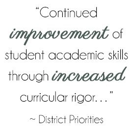Continued improvement of student academic skills through increased curricular rigor... - District Priorities