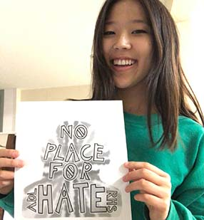 American flag in parking lot
