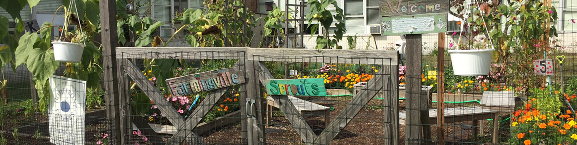 Farmingville Sprouts sign on a fence in front of a garden