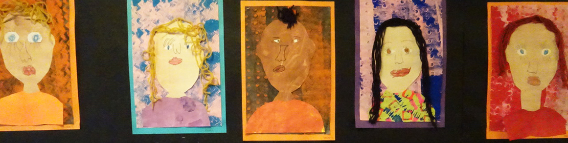 Students colorful self portrait artwork