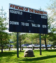 Home of the Raiders scoreboard