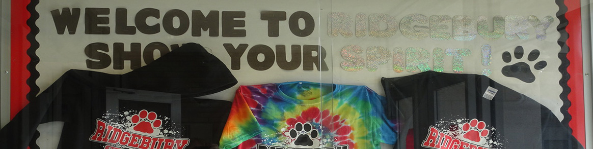 Welcome to Ridgebury! Show your spirit t-shirt display.