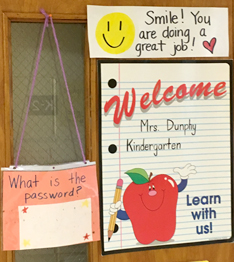 Classroom door with encouraging posters