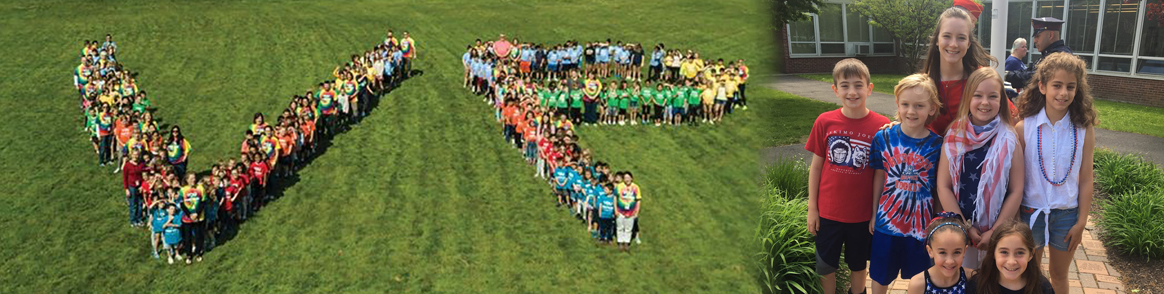 students making a V and a P in the grass and a group of students smiling