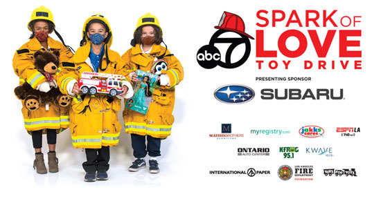 Spark of Love Toy Drive presenting sponsors - Subaru, Mathis Brothers Furniture, myregistry dot com, Jakks cares, ESPNLA, Ontario Auto Center, KFrog 95 point 1, Kwave 107 point 9, International Paper, Los Angeles Fire Department Foundation, Toys For Tots