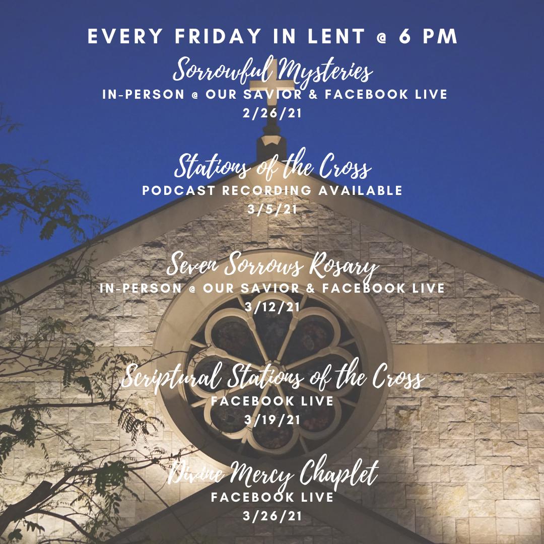 Fridays of Lent Schedule