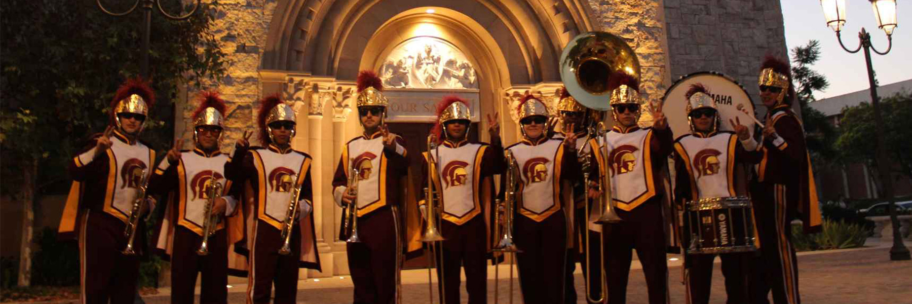 Group of band students wearing uniforms