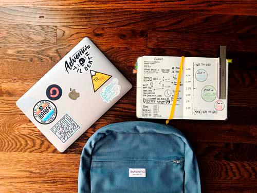 school supplies- backpack, laptop, notebook