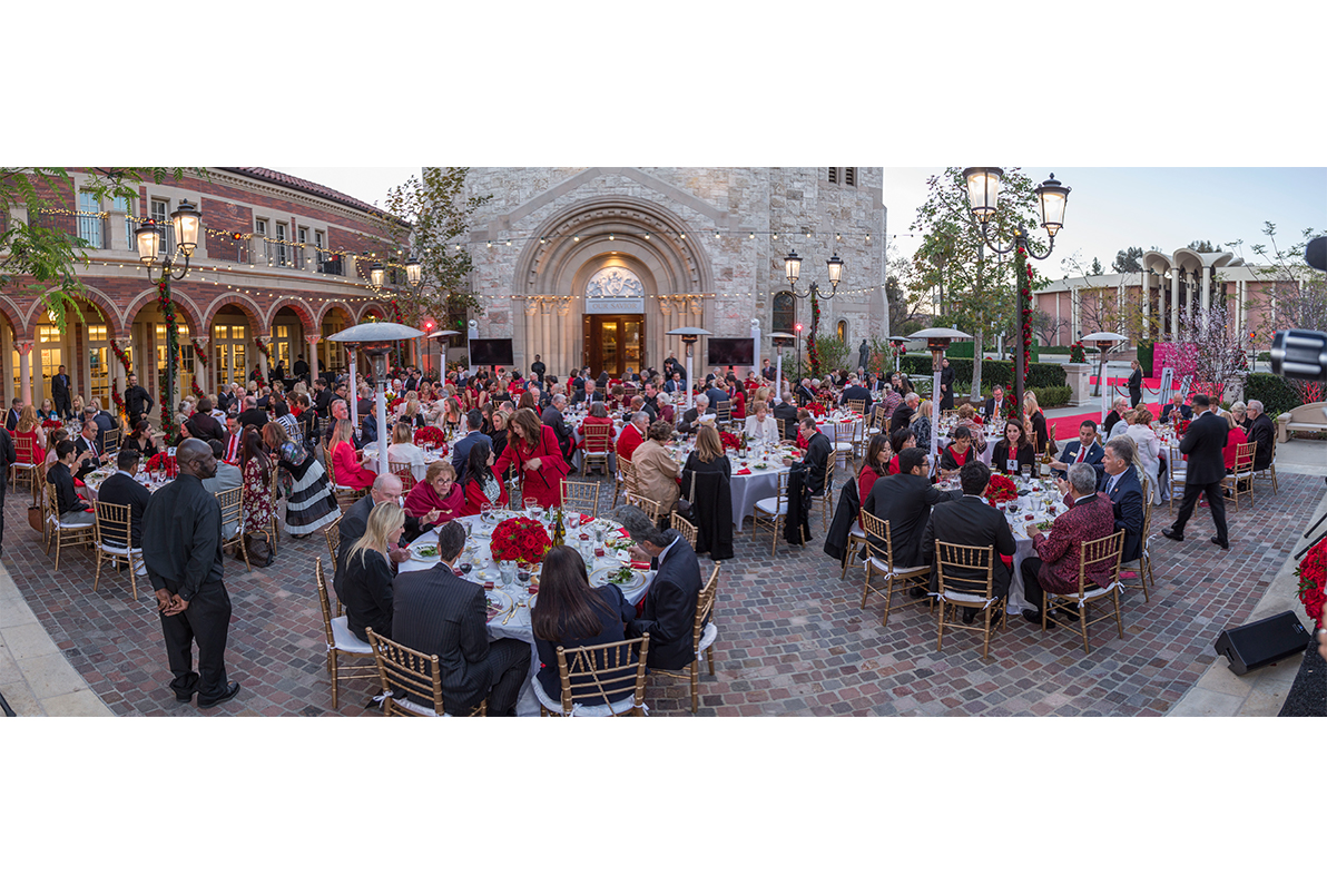 Trojan Saint Award Dinner in Courtyard