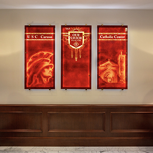 Our new donor wall was beautifully created by Judson Studios and is located in the USC Caruso Catholic Center lobby.