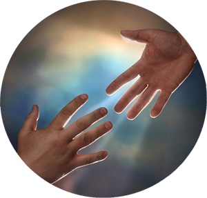 Hand reaching down to other hand
