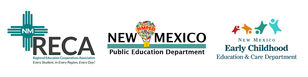 NM RECA Logo, New Mexico Public education department logo, New Mexico Early Childhood Education and Care Department logo