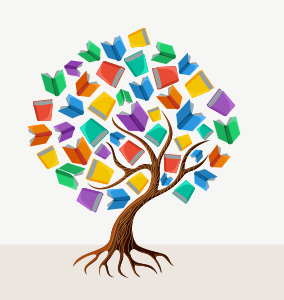 Illustration of a tree with colorful books