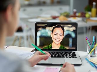 Student receiving online help