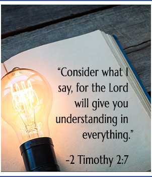Light bulb over book, bible verse