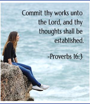 Young teen embracing ocean view, bible verse