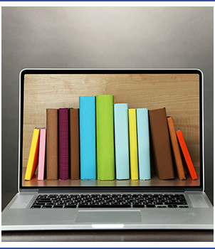 Books on laptop screen