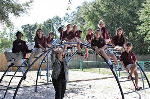 Students on Jungle Gym