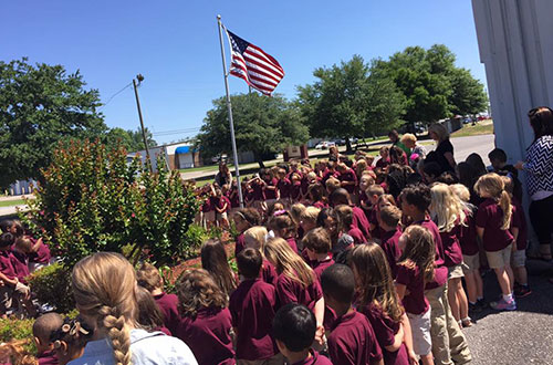 Students at flag ceremony