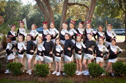 Cheerleaders outdoors.