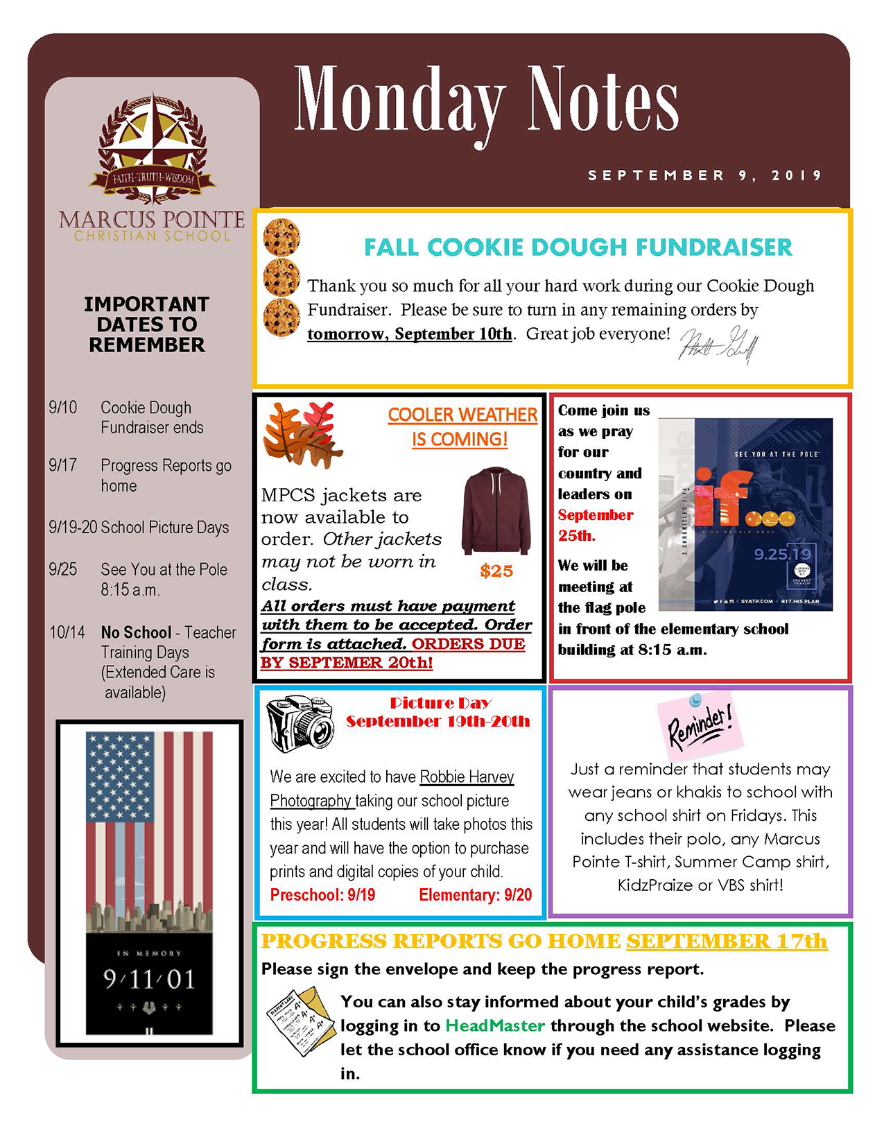 Weekly Notes for September 9, 2019