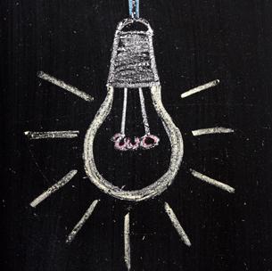 light bulb on a blackboard