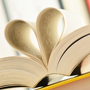 heart made out of pages in a book