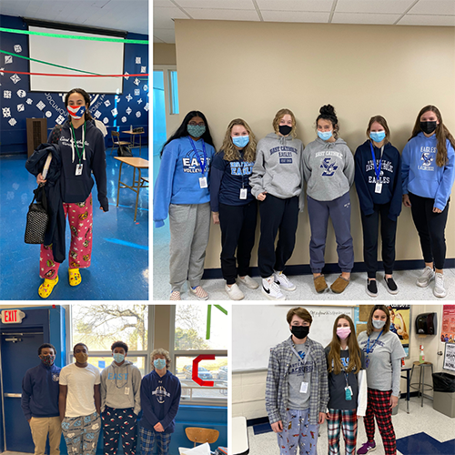 Students on pajama day