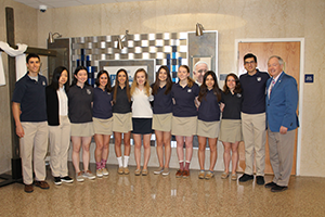 O'Brien Scholars pose with an administrator