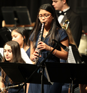 Student playing the clarinet