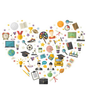 heart shape filled with educational icons