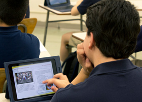 Student using a tablet