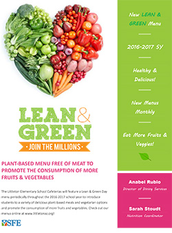 Click to View the Lean & Green Menu Flyer