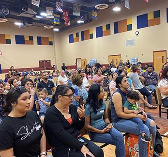 Joel Lassman from the Phoenix Holocaust Association speaks to students