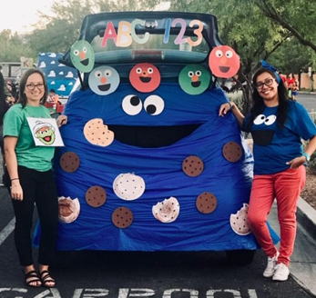 a car decorated as Cookie Monster