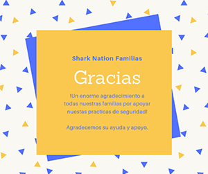 Shark Nation Family Thank You Spanish flyer