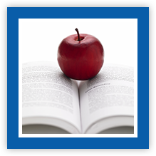 Apple in the center of an open book