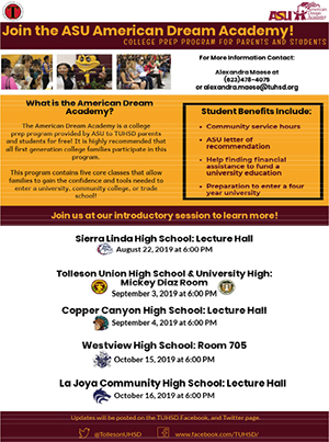 Join the ASU Dream Academy College Prep flyer in English