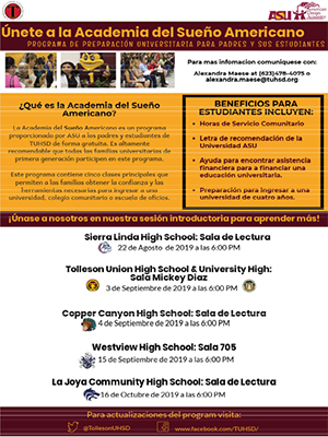 Join the ASU Dream Academy College Prep flyer in Spanish