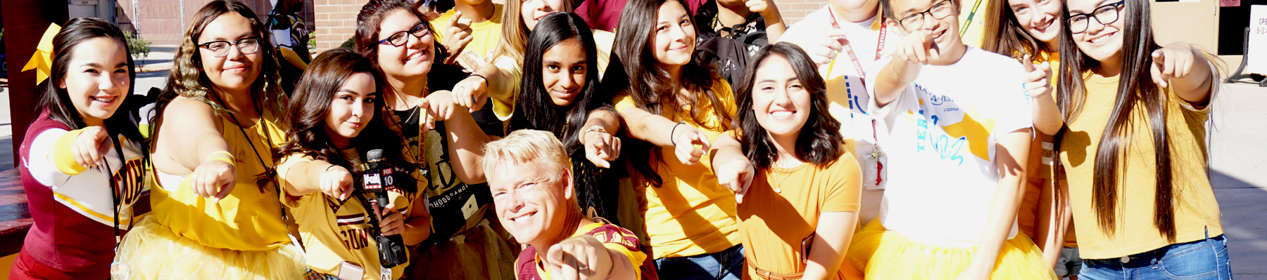 Students in school colors