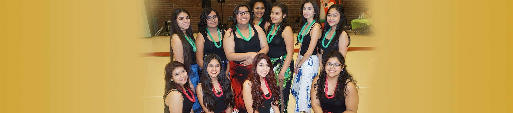 group of students in tropical attire