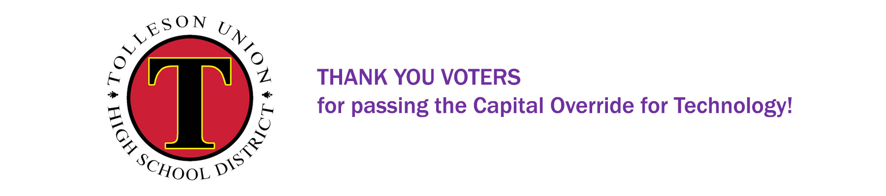 Thank you voters for passing the Capital Override for Technology!