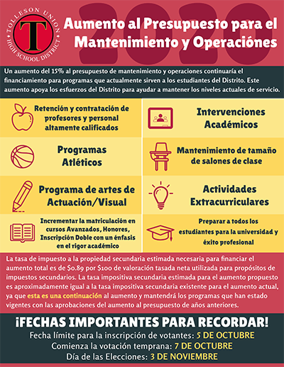 Maintenance and Operation Override flyer SPANISH