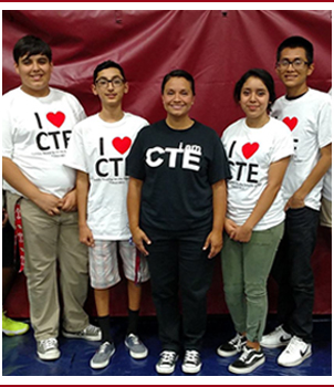 Students wear I Heart CTE t-shirts