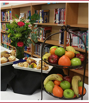 Food on display in a library