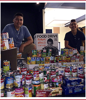 Students display food for donations