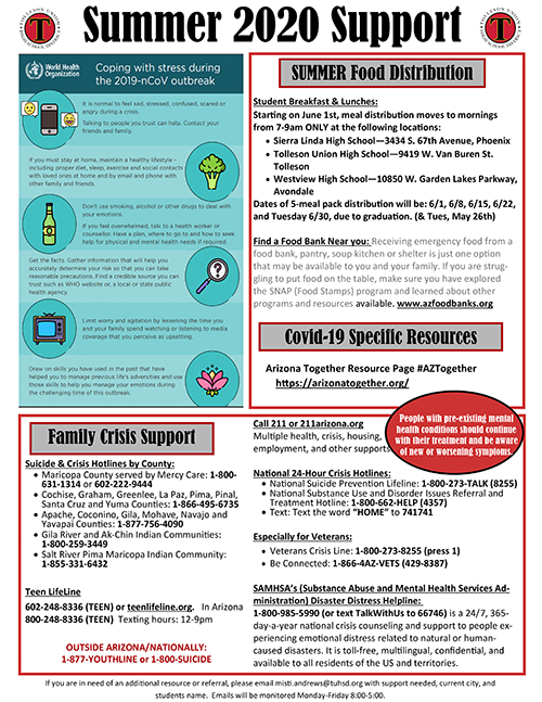 Tolleson Union High School District Summer 2020 Support Flyer English