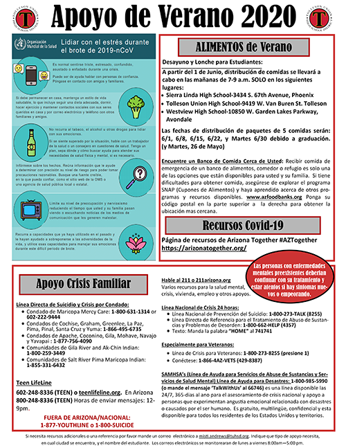 Tolleson Union High School District Summer 2020 Support Flyer Spanish