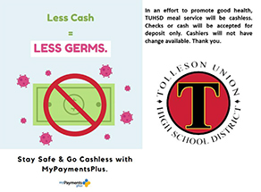 View the less cash less germs flyer.