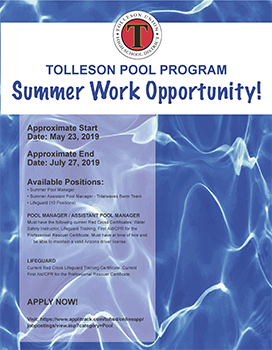 Tolleson Pool Program Summer Work Opportunity flyer